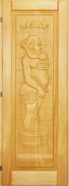 Дверь для бани деревянная 70х190 липа резная