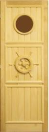Дверь для бани деревянная 70х190  липа/стекло Штурвал лев, арт. ДС-8-Л