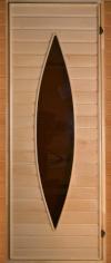 Дверь для бани деревянная 71х190 липа со стеклом ?17, арт. СД17