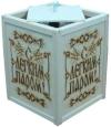 Абажур подвесной малый С ЛЕГКИМ ПАРОМ с надписью по центру (липа), арт. А-27