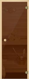 Дверь стеклянная 69х189 бронза/сосна с круглой ручкой (АКМА), арт 220Р