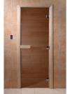 Дверь стеклянная 69х189 бронза/сосна с прямоугольной ручкой, магнитной защелкой и 3-мя петлями (DOORWOOD)