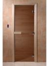 Дверь стеклянная 69х189 бронза/осина с прямоугольной ручкой, магнитной защелкой и 3-мя петлями (DOORWOOD)