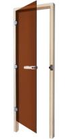 Дверь стеклянная 69х185 бронза/осина левая с прямоугольной ручкой (SAWO), арт. 730-3SGA-L