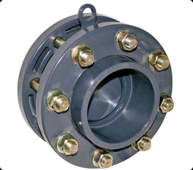 ПВХ Клапан обратный мембранный Д.125мм с адаптерами, фланцами, болтами (комплект)